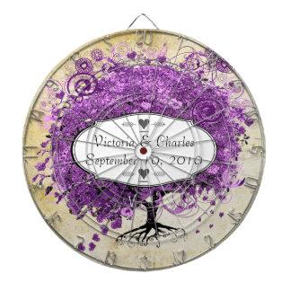 Radiant Purple Heart Leaf Tree Wedding Dartboard With Darts