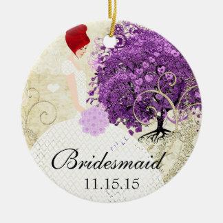 Radiant Purple Heart Leaf Tree Wedding Round Ceramic Decoration
