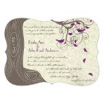 Radiant Purple Love Bird Rustic Tree Wedding Personalised Announcement