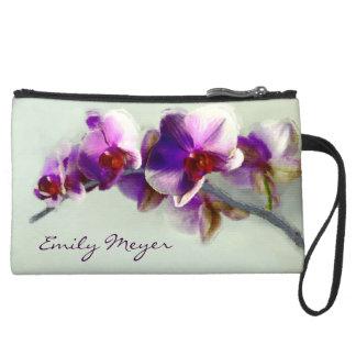 Radiant Purple Orchid Flowers Clutch Bag Wristlet Purses
