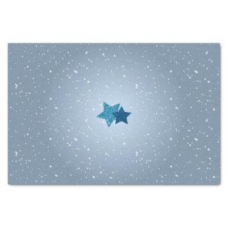 Radiant Silver Blue Glitter Stars Snowy Tissue Tissue Paper