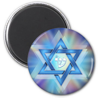Radiant Star of David 6 Cm Round Magnet