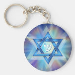 Radiant Star of David Basic Round Button Key Ring