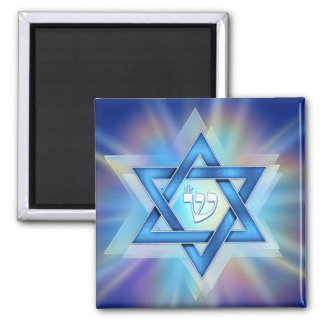 Radiant Star of David Square Magnet