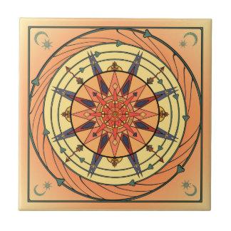 Radiant Sun Vintage Art Mandala Ceramic Tile