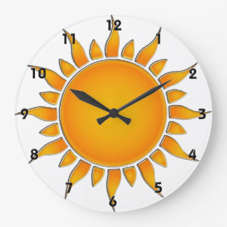 Radiant Yellow and Orange Summer Sun Large Clock