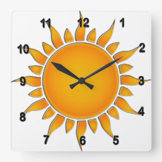 Radiant Yellow and Orange Summer Sun Square Wall Clock