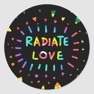 Radiate Love Colorful Painting on Black Sticker