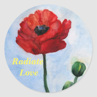 Radiate Love Floral Watercolor Sticker, Glossy Classic Round Sticker