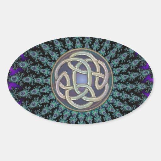 Radiating Fractal Mandala Grunge Celtic Knot Oval Sticker
