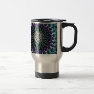 Radiating Fractal Mandala Grunge Celtic Knot Travel Mug
