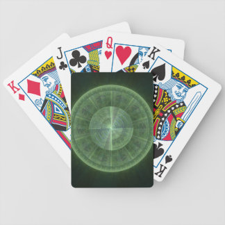 Radiating Green Circle Fractal Design Bicycle Playing Cards