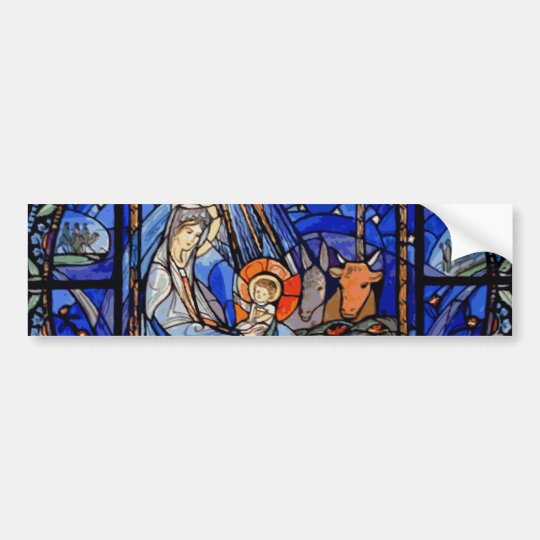 Radiating Nativity Stained Glass Blue Bumper Sticker