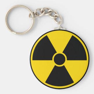 Radiation Hazard Sign Basic Round Button Key Ring