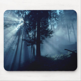 Radiation sun in the forest, dark tendency, mouse pad