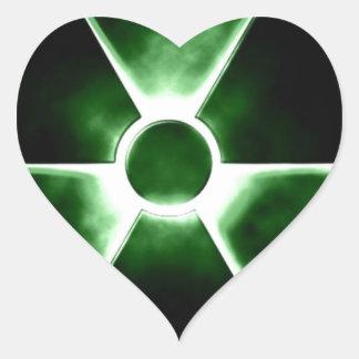 Radiation symbol heart stickers