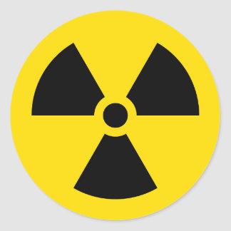 radiation symbol round sticker
