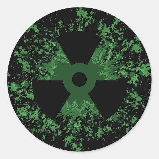 Radiation Symbol Splat Round Stickers