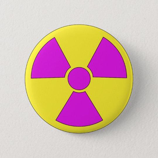 Radiation warning sign magenta and yellow 6 cm round badge