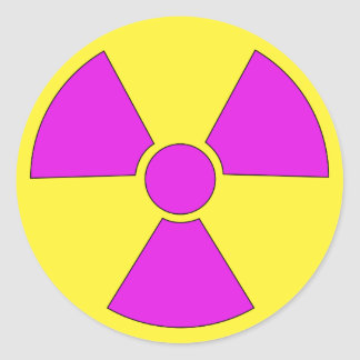 Radiation warning sign magenta and yellow classic round sticker