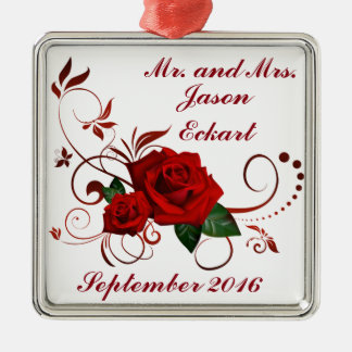 Radient Red Roses Silver-Colored Square Decoration