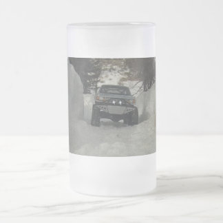 Radio Control 4x4 truck on a snow shoe trail Frosted Glass Mug