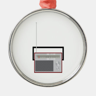 Radio Silver-Colored Round Decoration