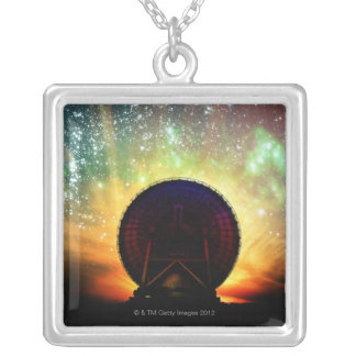 Radio Telescope Silver Plated Necklace