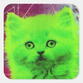 radioactive cat square sticker