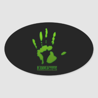 Radioactive Hand Print Oval Sticker