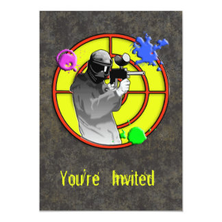 Radioactive Neon Paintball Shooter 13 Cm X 18 Cm Invitation Card