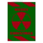 Radioactive Nuclear Merry Christmas Red and Green Greeting Card