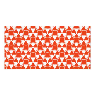 Radioactive pattern on red photo card template
