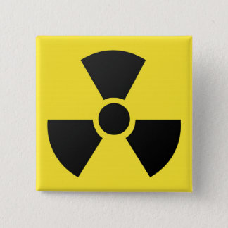 Radioactive radiation nuclear atomic symbol 15 cm square badge