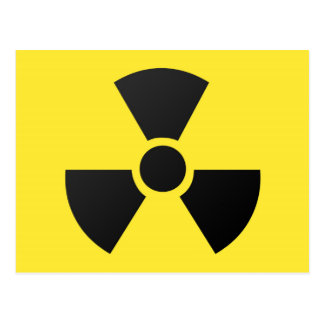 Radioactive radiation nuclear atomic symbol postcard