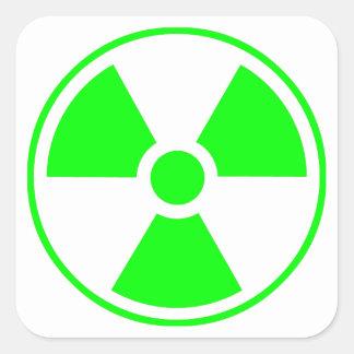 Radioactive Radiation Symbol green and white Square Sticker