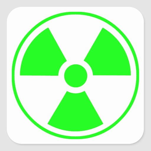 Radioactive Radiation Symbol green and white Square Stickers