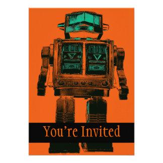 Radioactive Robot Rebellion Custom Invitations