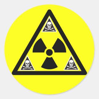 Radioactive Scull & Crossbones Round Sticker