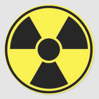 RADIOACTIVE SIGN CLASSIC ROUND STICKER