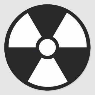 Radioactive Symbol B&W Sticker