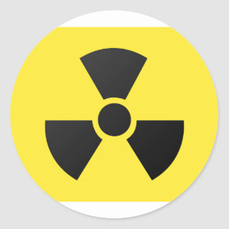 Radioactive symbol round sticker