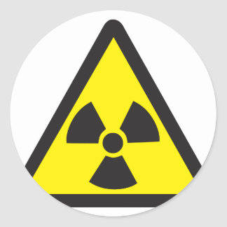 Radioactive Symbol Warning Triangle Classic Round Sticker