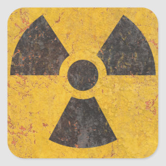 Radioactive Warning Sign Square Sticker