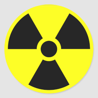 Radioactive warning stickers