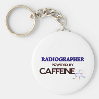Radiographer Powered by caffeine Basic Round Button Key Ring