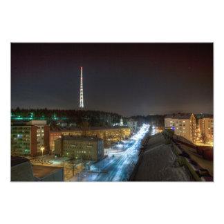 Radiotower and road art photo