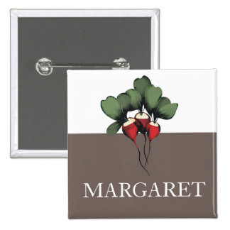 radishes vegetable chef name tag button badge