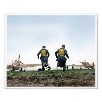 RAF Pilots 'Scramble' during the Battle-of-Britain Photo Print