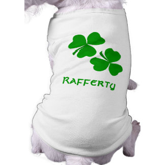 Rafferty Irish Shamrock Name Sleeveless Dog Shirt
